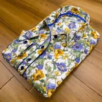 Grenouille Ladies Long Sleeve Blue and Yellow Anemone Flower Shirt